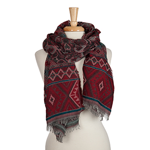 Burgundy, teal and white Aztec printed open scarf. 100% acrylic.