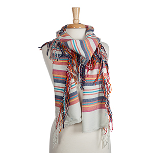 Gray open scarf with red, yellow, navy, and turquoise stripes and fringe detail. 100% acrylic.