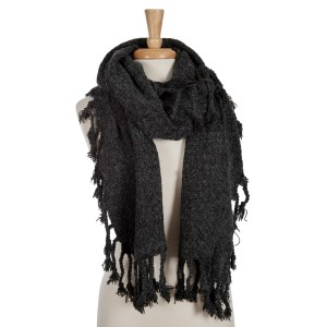 Black open scarf with tassels. 100% acrylic.