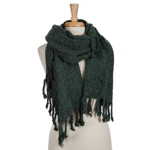 Hunter green open scarf with tassels. 100% acrylic.