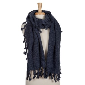 Navy blue open scarf with tassels. 100% acrylic.