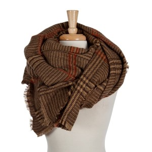 Beige, brown and rust heavyweight plaid blanket scarf. 100% acrylic.