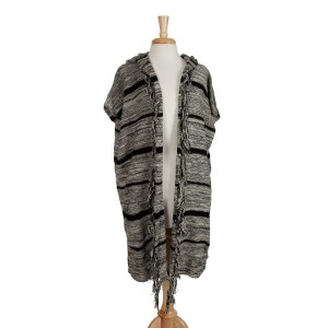 Black and gray stripped, hooded vest with fringe. 100% acrylic. One size fits most.