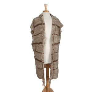 Beige stripped, hooded vest with fringe. 100% acrylic. One size fits most.