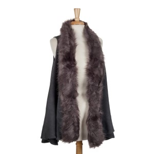 Gray vest with a faux fur trim. 100% acrylic. One size fits most.