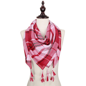 Crimson and white lightweight plaid scarf with tassels. 100% polyester.