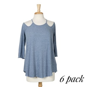 Blue top with 3/4 sleeves, a criss-cross back with a keyhole and a relaxed fit. 75% cotton and 25% polyester. Sold in packs of six - two smalls, two mediums, and two larges.