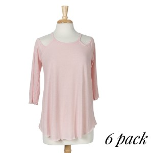 Blush top with 3/4 sleeves, a criss-cross back with a keyhole and a relaxed fit. 75% cotton and 25% polyester. Sold in packs of six - two smalls, two mediums, and two larges.