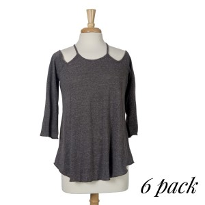 Charcoal gray top with 3/4 sleeves, a criss-cross back with a keyhole and a relaxed fit. 75% cotton and 25% polyester. Sold in packs of six - two smalls, two mediums, and two larges.