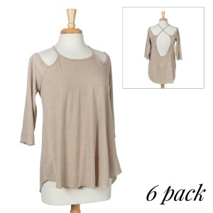 Sand top with 3/4 sleeves, a criss-cross back with a keyhole and a relaxed fit. 75% cotton and 25% polyester. Sold in packs of six - two smalls, two mediums, and two larges.