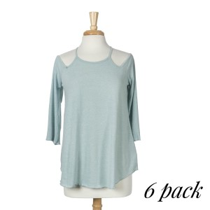 Cool mint top with 3/4 sleeves, a criss-cross back with a keyhole and a relaxed fit. 75% cotton and 25% polyester. Sold in packs of six - two smalls, two mediums, and two larges.