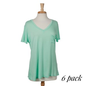 Lightweight mint green top with short sleeves, a pocket on the left chest and a V-neckline. 100% rayon. Sold in packs of six - two smalls, two mediums, and two larges.