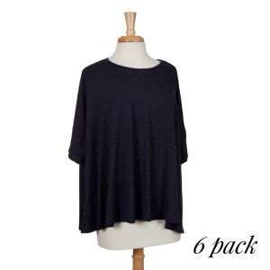 Navy blue 3/4 length sleeved top with a flowy fit. 87% polyester, 10% rayon, and 3% spandex. Sold in packs of six - two smalls, two mediums, and two larges.