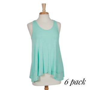 Lightweight mint green racerback tank top with a flowy fit. 97% rayon and 3% spandex. Sold in packs of six - two smalls, two mediums, and two larges.