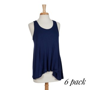 Lightweight navy blue racerback tank top with a flowy fit. 97% rayon and 3% spandex. Sold in packs of six - two smalls, two mediums, and two larges.