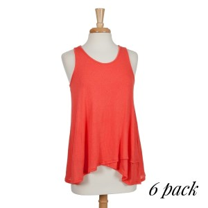 Lightweight coral racerback tank top with a flowy fit. 97% rayon and 3% spandex. Sold in packs of six - two smalls, two mediums, and two larges.