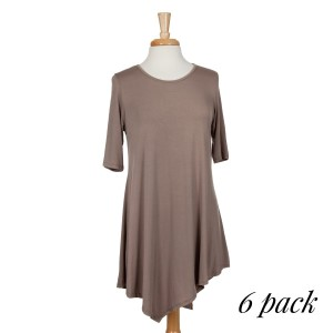 Mocha knee-legnth dress with a flowy fit, asymmetrical hem, and elbow-length sleeves. 95% rayon modal and 5% spandex. Sold in packs of six - two smalls, two mediums, two larges.