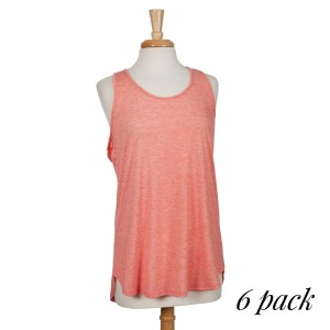 Coral racerback tank top. 87% polyester, 10% rayon, and 3% spandex. Sold in packs of six - two smalls, two mediums, and two larges.