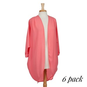 Coral open long cardigan with front pleats and 3/4 length sleeves. 100% polyester. Sold in packs of six - two smalls, two mediums, and two larges.
