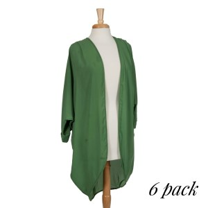 Olive green open long cardigan with front pleats and 3/4 length sleeves. 100% polyester. Sold in packs of six - two smalls, two mediums, and two larges.