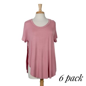 Mauve short sleeve top with raw hemlines, a scoop bottom and slits up both sides. 95% rayon and 5% spandex. Sold in packs of six - two smalls, two mediums, and two larges.