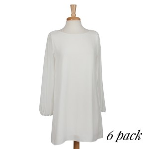 White long sleeve knee-length dress. Bodice is fully lined, sleeves are unlined. 100% polyester. Sold in packs of six - two smalls, two mediums, and two larges.
