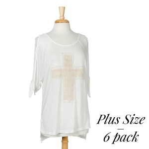 Ivory cold shoulder plus size top with a knit cross. 95% polyester and 5% spandex. Sold in packs of six - two 1X, two 2X, and two 3X.