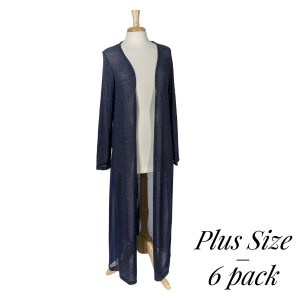 Lightweight navy blue knit long cardigan with long sleeves. 87% polyester, 10% rayon, and 3% spandex. Sold in packs of six - two 1X, two 2X, and two 3X.