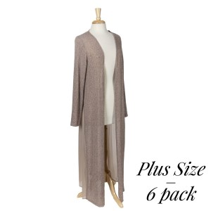 Lightweight taupe knit long cardigan with long sleeves. 87% polyester, 10% rayon, and 3% spandex. Sold in packs of six - two 1X, two 2X, and two 3X.