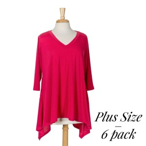 Fuschia 3/4 sleeved tunic with a sharkbite hem. 87% polyester, 10% rayon, and 3% spandex. Sold in packs of six - two 1X, two 2X, and two 3X.