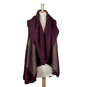 Burgundy and taupe color block vest. 100% acrylic. One size fits most.