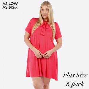 Coral short sleeve, plus size flowy dress with a tie front. 95% rayon and 5% spandex. Sold in packs of six - two 1X, two 2X, and two two 3X.