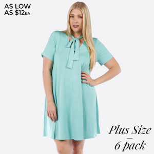 Mint green short sleeve, plus size flowy dress with a tie front. 95% rayon and 5% spandex. Sold in packs of six - two 1X, two 2X, and two two 3X.