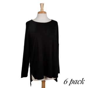 Black long sleeve top with a scoop neckline, a slight high-low hem and a loose, flowy fit. 96% bamboo and 4% spandex. Sold in packs of six - two smalls, two mediums and two larges. Perfect for gameday!