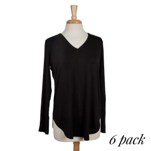 Black long sleeve, v-neckline top with a scoop bottom. Perfect for gameday and layering! 95% rayon modal and 5% spandex. Sold in packs of six - two smalls, two mediums and two larges.