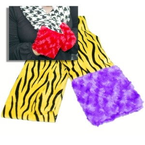 Tiger stripe black and yellow scarf with fuzzy purple eges.