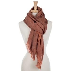 Rust orange, oversized rectangle scarf with fringe details on the edges. 100% acrylic.