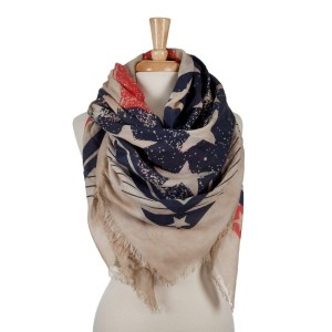 American themed lightweight blanket scarf with beige under tone. 100% polyester.