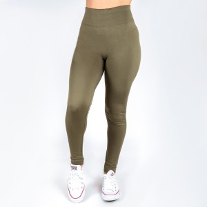 Olive green leggings. This style is one size fits all, full length, and in a summer weight. Offered in everyday essential colors to coordinate with long tops or skirts.  Made of a 92% nylon and 8% spandex mix.
