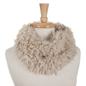 Beige faux fur tube scarf with lace detailing on the inside. 100% polyester.
