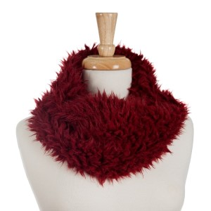 Burgundy faux fur tube scarf with lace detailing on the inside. 100% polyester.