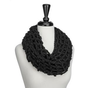 Black, large knit, infinity scarf. 100% acrylic.