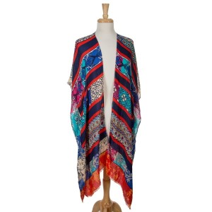 Multicolored, short sleeve, kimono with floral and geometric patterns. 100% polyester. One size fits most.