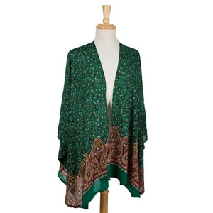 Kelly green short sleeve kimono with a floral pattern. 100% viscose. One size fits most.