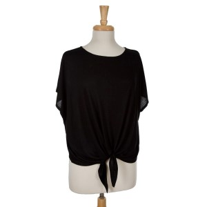 Black short sleeve top with a tie front. 65% viscose and 35% polyester. One size fits most.