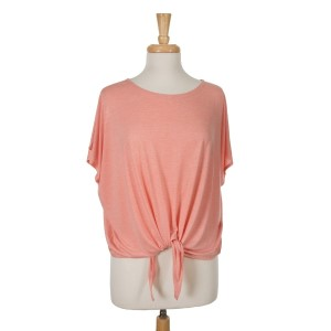 Coral short sleeve top with a tie front. 65% viscose and 35% polyester. One size fits most.