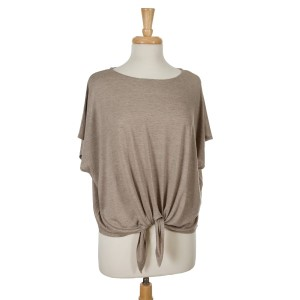 Taupe short sleeve top with a tie front. 65% viscose and 35% polyester. One size fits most.