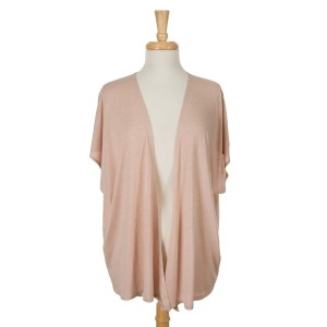 Dust pink short sleeve open overlay. 65% viscose and 35% polyester. One size fits most.
