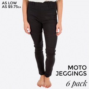 "Black Moto Jeggings with faux front pockets and real back pockets. 65% polyester, 30% cotton, and 5% spandex. 28"" inseam. Sold in packs of six - three S/M and three L/XL. Approximate fit in U.S. sizes: S/M 4-8 & L/XL 10-14"