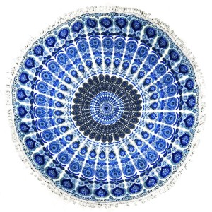 "Blue roundie with a Bohemian print. This roundie can be used on the beach, as wall decor, or a rug. Approximately 66"" in diameter. 100% viscose."